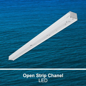 The STR100 is a commercial LED open strip channel fixture