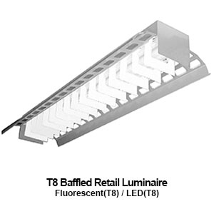 The ABI100 is a baffled retail T8 fluorescent commercial fixture