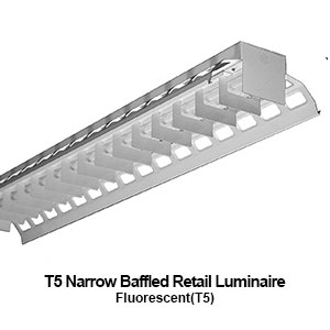 The ABI200 is a narrow baffled retail T5 fluorescent commercial fixture