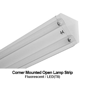 The ANS100 is a corner mounted open lamp commercial fluorescent strip