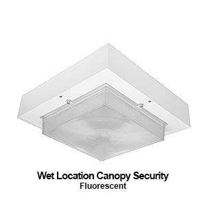The BCW500 is a wet location canopy security fluorescent commercial fixture