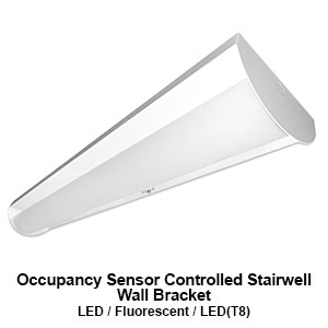 The BSW100 is an occupancy sensor controlled stairwell commercial LED wall bracket fixture