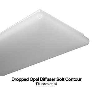 The DES100 is a commercial fluorescent fixture equipped with a dropped opal soft contour diffuser