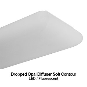 DES220, LED dropped opal diffuser commercial LED lighting fixture with a soft contour lens