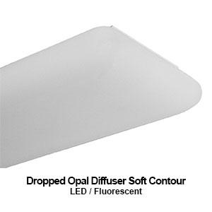 DES220, LED dropped opal diffuser commercial LED lighting fixture with a soft contour lens