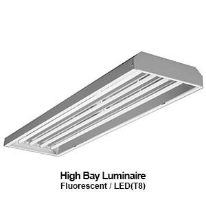 The EBY100 is a commercial fluorescent high bay fixture