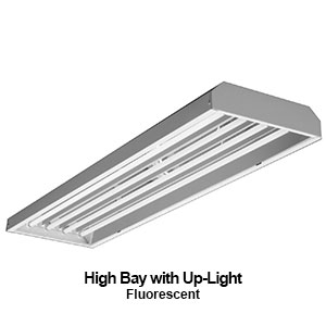 The EBY101 is a commercial fluorescent high bay fixture with uplight