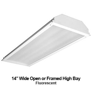 The EBY200 is a 14-inch wide open or framed commercial fluorescent high bay