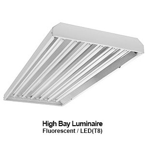 The EBY300 is a commercial fluorescent high bay fixture