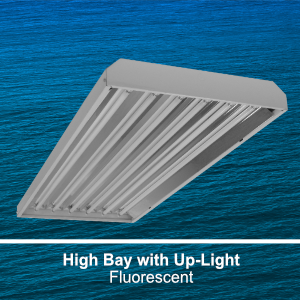 The EBY301 is a commercial fluorescent high bay fixture with uplight