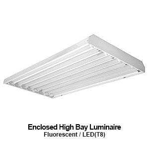 The EBY400 is an enclosed high bay fluorescent commerical fixture