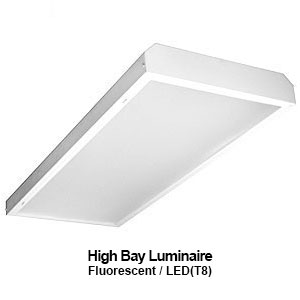 The EBY450 is a commercial fluorescent enclosed high bay fixture