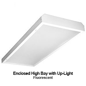 The EBY451 is a commercial fluorescent enclosed high bay fixture with uplight