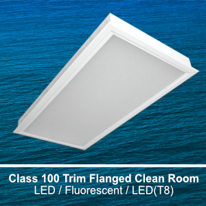 The FCR220 is a 2x2 and 2x4 modular class 100 recessed trim flanged clean room commerical LED fixture