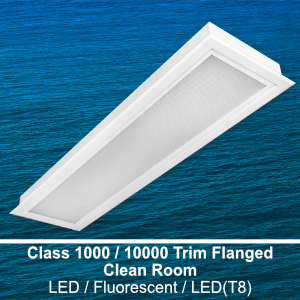 The FCR710 is a 1x4 class 1000/10000 trim flanged clean room commercial LED fixture
