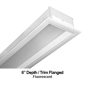 The FDH410 is a 6-inch depth recessed trim flanged commercial fluorescent fixture