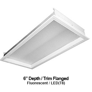 The FDH420 is a 6-inch depth recessed trim flanged commercial fluorescent fixture
