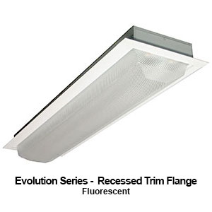 The FEV110 is a recessed trim flange commercial fluorescent fixture from our Evolution Series