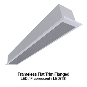 6-inch wide frameless flat trimmed recessed commercial LED fixture