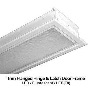 The FHL310 is a 1x4 trim flanged hinge and latch door frame commercial LED fixture