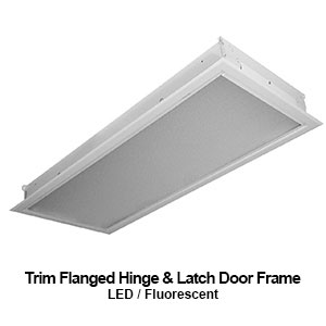 The FHL315 is a 2x2 and 2x4 trim flanged hinge and latch door frame commercial LED fixture