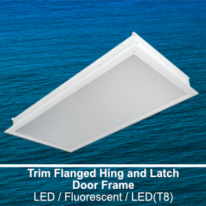 The FHL320 is a 2x2 or 2x4 trim flanged hinge and latch door frame commercial LED fixture
