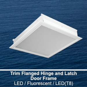 The FHL330-340 is a 3x3 and 4x4 trim flanged hinge and latch door frame commercial fluorescent fixture