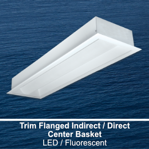 The FIC110 is a 1x4 trim flanged indirect/direct center basket commercial LED fixture