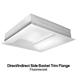 The FIS120 is a direct/indirect side basket trim flange commercial fluorescent fixture