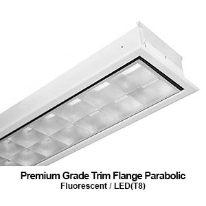 The FPA510 is a 1x4 premium grade trim flange parabolic commercial fluorescent fixture