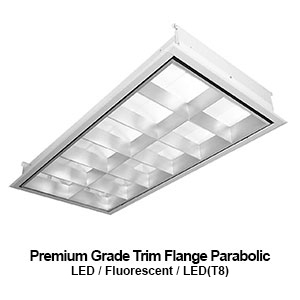 The FPA520 is a 2x2 and 2x4 premium grade trim flange parabolic commercial fluorescent fixture