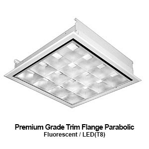 The FPA530-540 is a 3x3 and 4x4 premium grade trim flange parabolic commercial fluorescent fixture