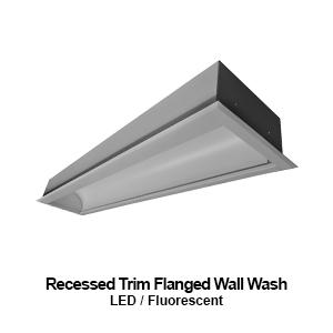 The FWW200 is a recessed trim flanged wall wash commercial LED fixture