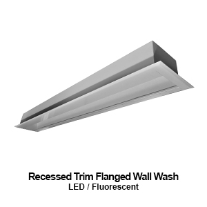 The FWW206 is a recessed trim flanged wall wash commercial fluorescent fixture
