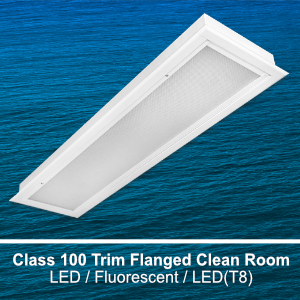 The FCR210 is a 1x4 modular recessed class 100 trim flanged clean room commercial LED fixture