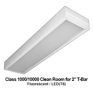 The GCR610 is a 1x4 Class 1000/10000 clean room commercial fluorescent fixture for 2-inch T-bar applications