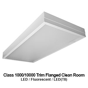 The GCR620 is a 2x2 or 2x4 Class 1000/10000 trim flanged clean room commercial LED fixture