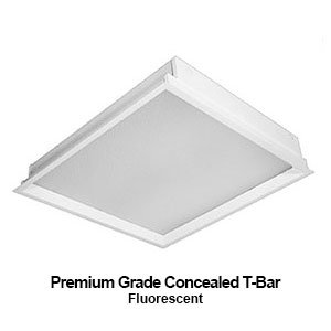 The GCT630-640 is a 3x3 or 4x4 modular premium grade concealed T-bar commercial fluorescent fixture