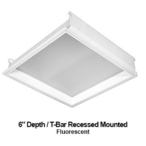The GDH430-440 is a 3x3 or 4x4 6-inch depth T-bar recessed mounted commercial fluorescent fixture