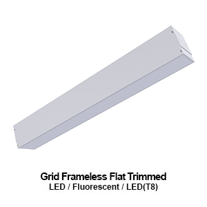 6-inch wide grid mounted frameless flat trimmed commercial LED fixture