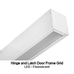 The GHL306 is a 6-inch wide grid mounted hinge and latch door frame design commercial fluorescent fixture