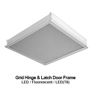 The GHL330-340 is a 3x3 or 4x4 grid mounted hinge and latch door frame designed commercial LED fixture
