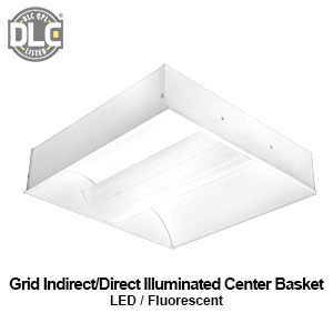 The GIC120 is a DLC qualified grid mounted indirect - direct illuminated center basket commercial LED fixture
