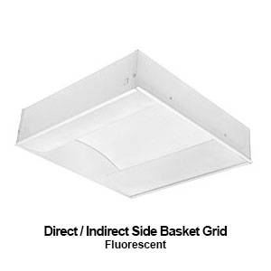 The GIS120 is a commercial fluroescent direct - indirect side basket grid mounted fixture