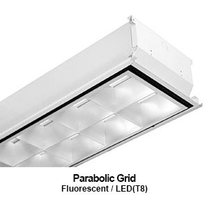 The GPA510 is a 1x4 grid mounted parabolic commercial fluorescent fixture
