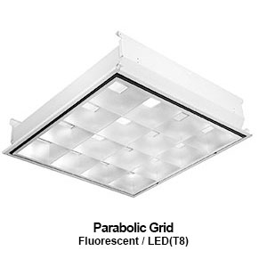 The GPA530-540 is a 3x3 or 4x4 parabolic grid mounted commercial fluorescent fixture with louvers