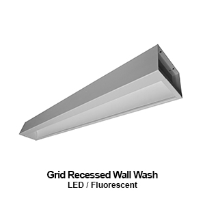 The GWW206 is 6-inch wide grid recessed wall wash commercial fluorescent fixture
