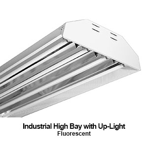 The HBI201 is an industrial commercial fluorescent high bay with up-light