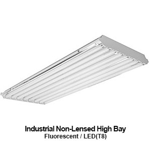 The HBN300 is an industrial non-lensed high bay commercial fluorescent fixture