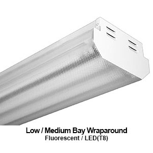 The HBW100 is a low to medium bay wrapround commercial fluorescent fixture